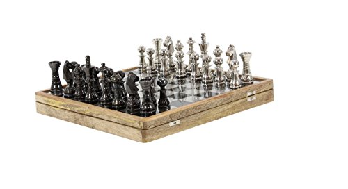 Deco 79 28551 Aluminum and Wood Chess Set, 6