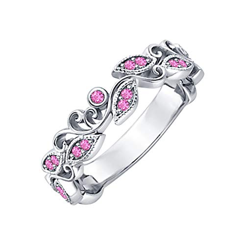 (Unique Leaf Flower Engagement Ring Round Pink Sapphire 14k White Gold Over .925 Sterling Silver Art Deco Women's Promise Ring)