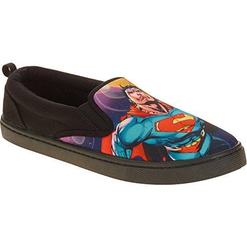Superman Men's Canvas Slip On Shoe, Black, 8 M US