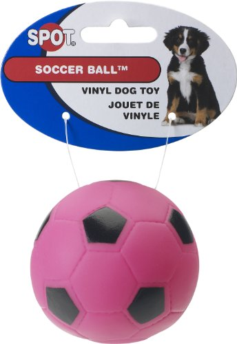 Ethical Vinyl Soccer Ball Dog Toy, 3-Inch (pink, green, yellow, white - colors may vary)