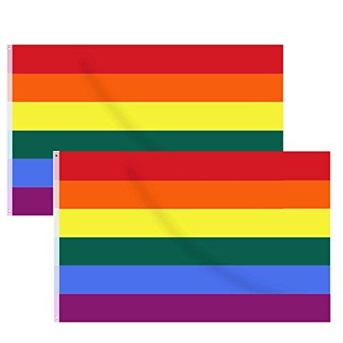 Hysagtek 2 Pcs Rainbow Flag Gay Pride Flag LGBT Pride Parade Banners Flags,5 x 3 ft/150 x 90 cm