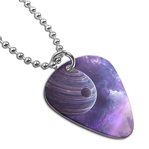 Purple Space Pendant Necklace Guitar Pick Custom Keychain Pet Card