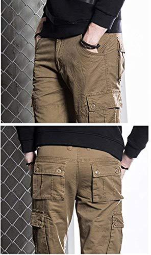 Huixin Cargo Kaffee Comodi Molte Skinny Da Esterno Tasche Tempo Uomo Sportivi Lavoro Colori Solidi Il Per Pantaloni Libero r5xwTgqUr