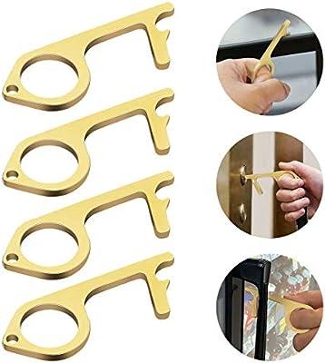 4 Pcs No-Touch Door Opener Closer Fostoy Brass Clean Key Tool Keep Hands Clean Portable Contactless Door Opener for Push The Elevator Button Outdoor Public Door