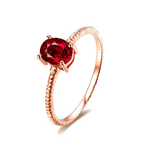 MoAndy Rose Gold 18K Ring for Women Wedding Rings for Her Ruby 0.4ct Red Size 4.5 ()