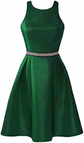 f735fa88d58 Lemai Short Satin Backless Halter Crystals Homecoming Prom Bridesmaid  Dresses