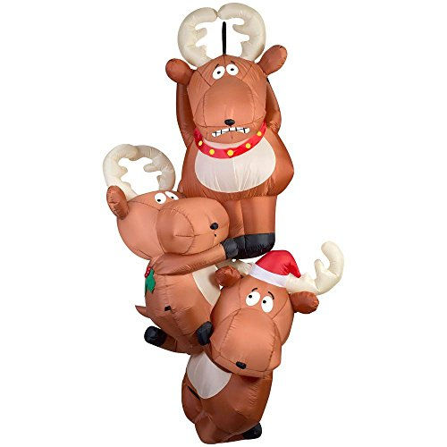 Gemmy 51.18 in. D x 29.53 in. W x 90.16 in. H Inflatable Reindeers Hanging From Roof by Gemmy (Image #2)