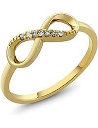 GemStoneKing 10K Solid Yellow Gold Vintage Engagement Rings For Women 0.035 cttw Natural Diamond Infinity Ring