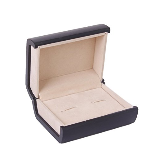 Foxnovo Deluxe Cufflink Cuff Links Storage Gift Box Jewelry Display Case (Black)