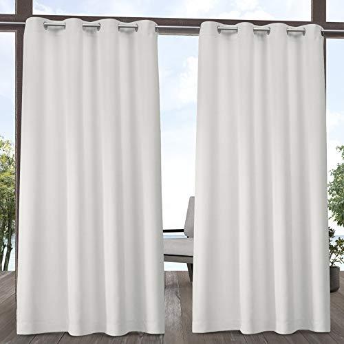Exclusive Home Curtains Indoor/Outdoor Solid Cabana Grommet Top Curtain Panel Pair, 54x96, Vanilla (Grommet Top Panels Drapery)