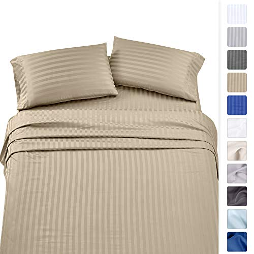 (Premium Quality 500 Thread Count 100% Pure Cotton Sheets - 4Piece Khaki Color Queen Size Damask Stripe Long-Staple Combed Cotton Sheet Set for Bed Fits Mattress Upto 18'' Deep Pocket, Sateen Set)