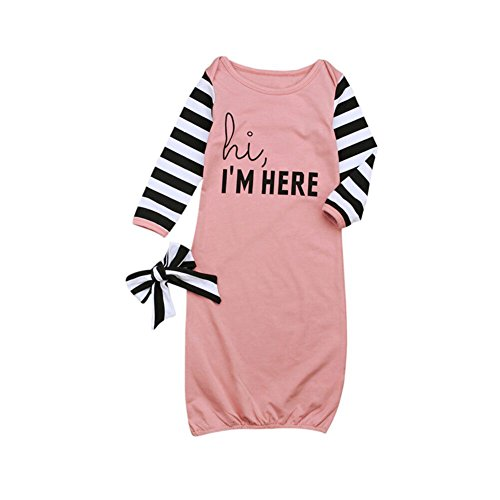 (HBER Baby Girls Little Sister Free Size Long Sleeve Stripe Gowns Pajamas Sleepwear Bag Outfits Set with Headband)