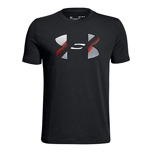 Under Armour Boys' Big Logo T-Shirt, Black /Red, Youth Large
