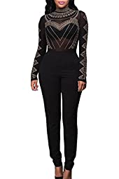 Pink Queen Women\'s Long Sleeve Sheer Rhinestone Bodycon Clubwear Jumpsuit Romper (M, Black-1553)