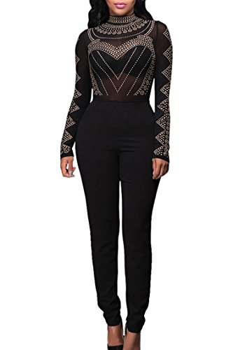 Pink Queen Women's Long Sleeve Sheer Rhinestone Bodycon Cocktail Jumpsuit Romper