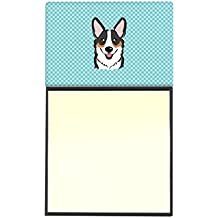 "Caroline's Treasures BB1193SN Checkerboard Blue Corgi Refillable Sticky Note Holder or Postit Note Dispenser, 3.25 by 5.5"", Multicolor"