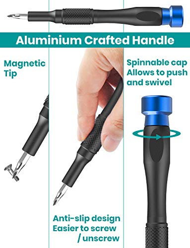 Klearlook 67 in 1 Precision Screwdriver Set with Case,Mini Magnetic Precision Electronics Repair Tool Driver Kit for Mobile Phone, PC, Laptop, Tablet, Watches, Game Console,Small Appliances and More