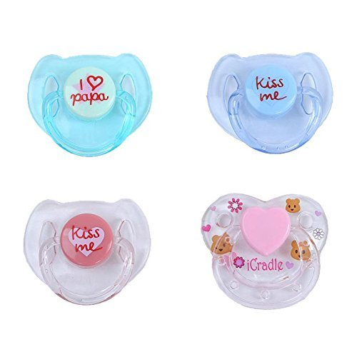4pcs White Magnetic Dummy Pacifier Internal Magnet Reborn Baby Doll Accessories