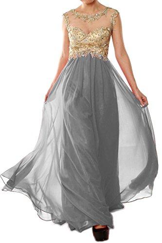 MACloth Women Cap Sleeve Gold Lace Chiffon Long Prom Dress Evening ...