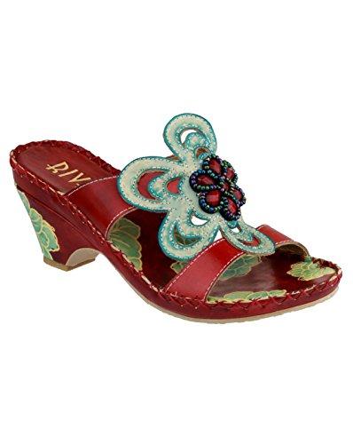 Riva Cricket dessus en cuir pour femme Talon rouge/Turquoise Block-dérapant-sur-chaussures