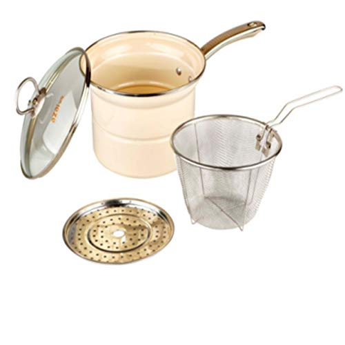 Modin Multi-Function Pan All Purpose Iron Enamel Stockpot with Steam and Boil Basket