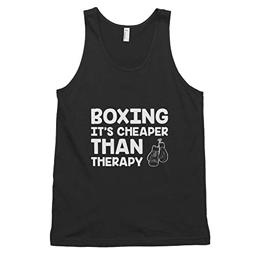 Quotablee Boxing It's Cheaper Than Therapy, Funny, Boxer, Gift, Training, Punching, Martial Arts, MMA, Tank Top Black