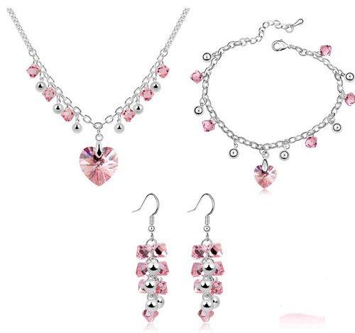 Galaxy Bijoux Swarovski Elements Rose Bracelet, Pendentif et boucles d'oreilles bijoux Set fini or blanc 18carats