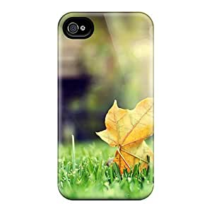 New AnnetteL Super Strong Leaf On Grass Golden Autumn Case Cover For Iphone 4/4s