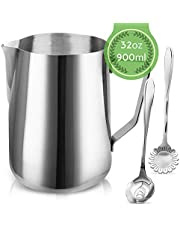 Milk Frothing Pitcher Jug - 32oz/900ML Stainless Steel Coffee Tools Cup - Suitable for Espresso, Latte Art and Frothing Milk, Attached Dessert Coffee Spoons