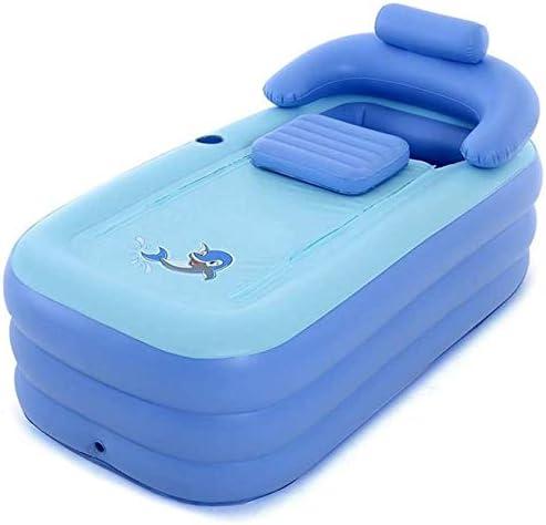 ポータブル折りたたみ式インフレータブルバスタブ、大型背もたれ付き耐久性のある浸漬バスタブ、大人の温泉プール用の滑り止め,Blue