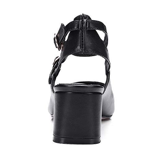 AN Femme Noir 36 Compensées DGU00785 Sandales 5 Noir SxTwrSgq