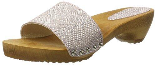 Sanita Botilde Sandalo In Metallo Pelle Scamosciata Zoccolo Rosa