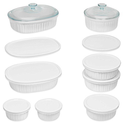 Durable Non-Porous French White 18 Piece Ceramic Made and Oven and Microwave Safe Bakeware Set with Lid by CorningWare by CorningWare