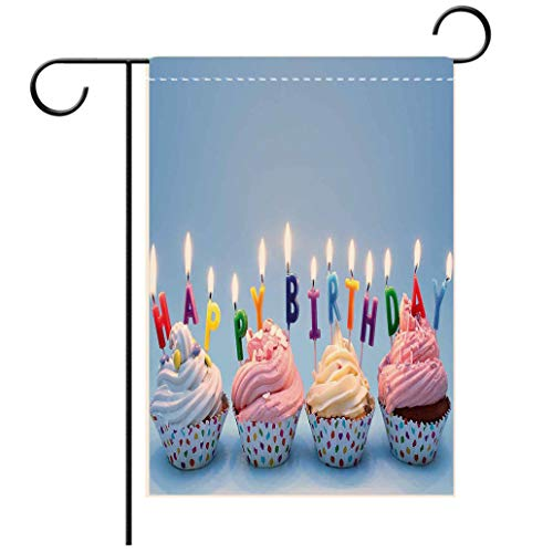 Double Sided Flag Garden Flag Holiday Decoration Birthday Decorations Delicious Creamy Cupcakes with Letter Candles Sweet Celebration Garden Flags Perfect For Party Yard, Patio, Porch or -
