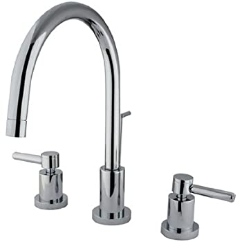 kingston brass ks8921dl 8 inch spout reach concord widespread lavatory faucet with brass pop up