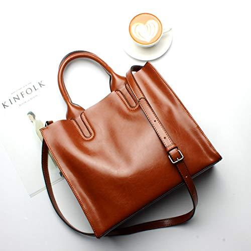 Capa color Para Capacidad Mano Grey Gran Tote Brown Bolsos Primera Baachang Mujer De Hombro Bolso Cuero YOP4BA