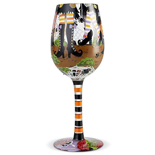 Lolita Halloween Wine Glasses (Enesco 6004429 Designs by Lolita Which Shoes Hand-Painted Artisan Wine Glass 15 Ounce)