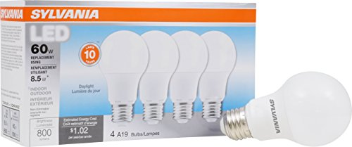 - SYLVANIA, 60W Equivalent, LED Light Bulb, A19 Lamp, 4 Pack, Daylight, Energy Saving & Longer Life, Value Line, Medium Base, Efficient 8.5W, 5000K