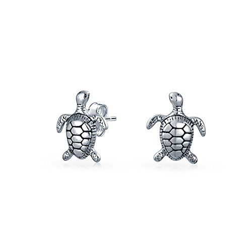 - Tiny Nautical Hawaiian Sea Tortoise Beach Turtle Stud Earrings For Women For Teen Oxidized 925 Sterling Silver