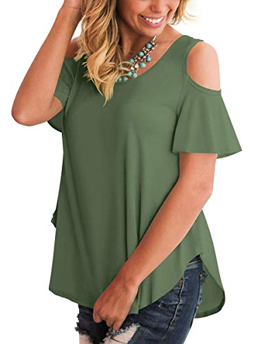 SLIMMING GRIL Girls Comfy Basic Tops Women's T Shirt Flattering Round Neck Ruched Street Amygreen S