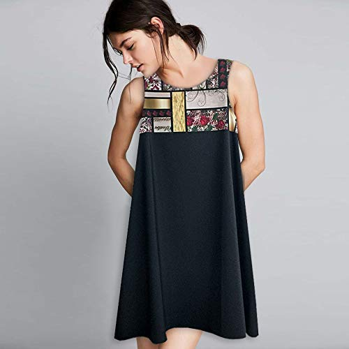 Black Sleeveless A-Line Sleeveless Swing Dress Plus Size 2X, Vintage Rose & Mondrian Patchwork