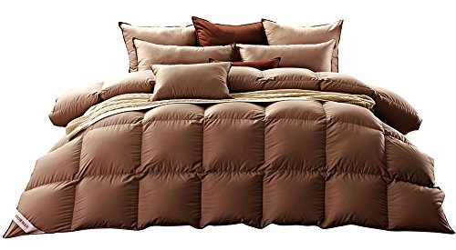 Warm Snowman - SNOWMAN Luxurious Goose Down Comforter Twin Size 100% Cotton Shell with Corner Tab-Extra Warm, Khaki Solid