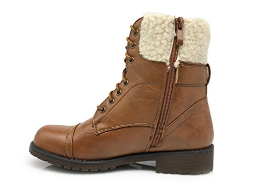 Enzo Romeo Womens Fashion Army Military Winter Cold Weather Combat Lace Up Above Ankle Snow Warm Boots Josefina01_tan 14Wd7Hb