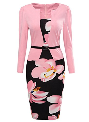 Oxiuly Women's Formal Patchwork Floral Print Business Work Pencil Long Sleeve Dress OX166 (L 8, Pink Long)