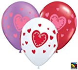 Luv Razzle Dazzle Valentine's Day Latex Balloons Qualatex 11-Inch 25 Per Pack