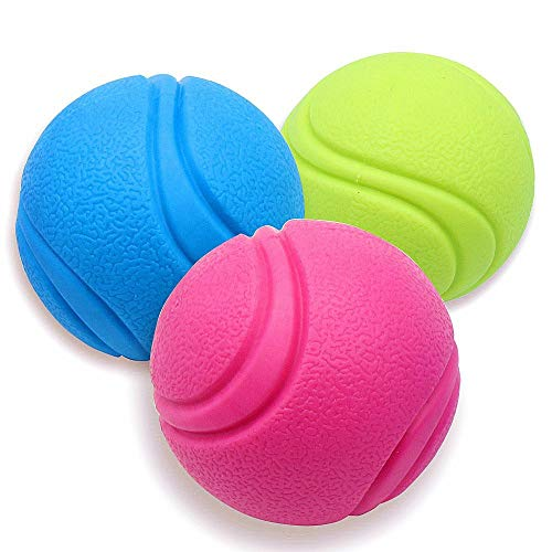 Mihachi Rubber Dog Ball- 3 Pack Dog Toy Balls Solid Durable Interactive Fetch Tiny Small Dogs Chew, 2.8 Balls