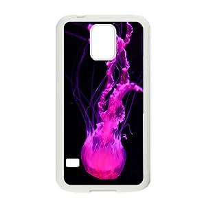Jellyfish Series, Samsung Galaxy S5 Case, a Jellyfish's Food Chain; Jellyfish Eat Plankton or Bony Fish Case for Samsung Galaxy S5 [White]