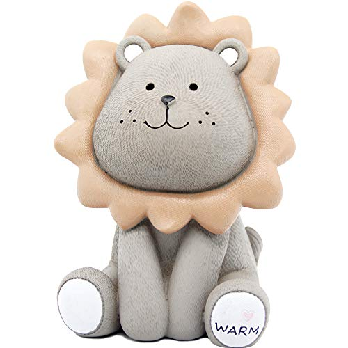 Lions Piggy Bank - H&W Cute Lion Coin Bank for Kids, (Gray) Money Box, Sunny Lion Piggy Bank, Best Gift for Children (WK010-D2)