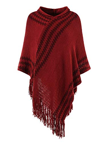 Ferand Women's Hooded Zigzag Striped Knit Cape Poncho Sweater with Fringes, One Size, Burgundy