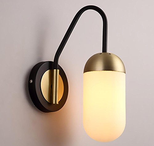 Iron-Type Push-Button Electronic Transformer Wall Lamp Nordic Creative Personality Modern Simple Bed Bed Bedroom Study Hotel Staircase Glass Wall Lamp (Black, Gold) (Width 32Cm, High 20.3Cm) , 2 by DMMSS